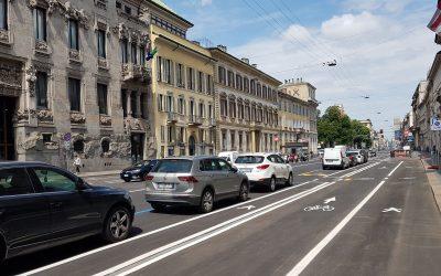 ミラノの自動車道から自転車道路への転用